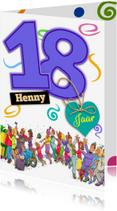 Verjaardagskaarten - Verjaardagskaart 18 jongen - HE