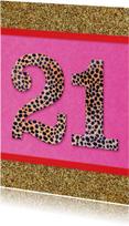Verjaardagskaarten - verjaardagskaart 21 roze glitter