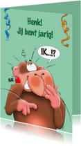 Verjaardagskaarten - Verjaardagskaart aap met taart - HE