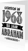 Verjaardagskaarten - Verjaardagskaart Abraham 1968