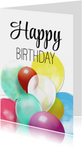 Verjaardagskaarten - Verjaardagskaart Ballonnen Happy Birthday