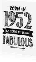 Verjaardagskaarten - Verjaardagskaart Born in 1952