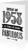 Verjaardagskaarten - Verjaardagskaart Born in 1958