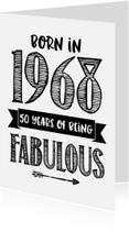 Verjaardagskaarten - Verjaardagskaart Born in 1968