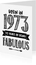 Verjaardagskaarten - Verjaardagskaart Born in 1973