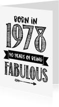 Verjaardagskaarten - Verjaardagskaart Born in 1978