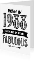 Verjaardagskaarten - Verjaardagskaart Born in 1988