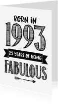 Verjaardagskaarten - Verjaardagskaart Born in 1993