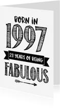Verjaardagskaarten - Verjaardagskaart Born in 1997