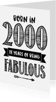 Verjaardagskaarten - Verjaardagskaart Born in 2000