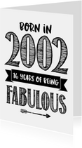 Verjaardagskaarten - Verjaardagskaart Born in 2002