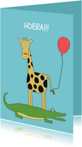 Verjaardagskaarten - Verjaardagskaart Dieren hip!