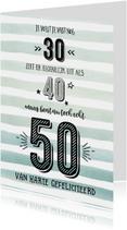 Verjaardagskaarten - Verjaardagskaart echt 50 aquarelstrepen