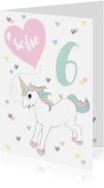 Verjaardagskaarten - Verjaardagskaart eenhoorn hartjes ballon