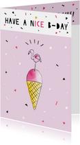 Verjaardagskaarten - Verjaardagskaart felicitatie flamingo ijs