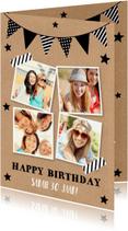 Verjaardagskaarten - Verjaardagskaart fotocollage kraft slinger zwart-wit