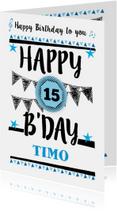 Verjaardagskaarten - Verjaardagskaart grafisch met eigen leeftijd en naam