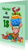 Verjaardagskaarten - Verjaardagskaart grappige aap met grote trom