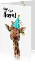 Verjaardagskaarten - Verjaardagskaart grappige giraf met feesthoedje
