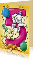 Verjaardagskaarten - Verjaardagskaart hondjes cijfer vijf