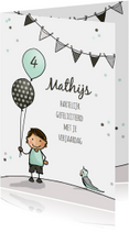 Verjaardagskaarten - Verjaardagskaart jongen ballon a