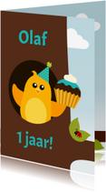 Verjaardagskaarten - Verjaardagskaart jongen vogel in boom - DD