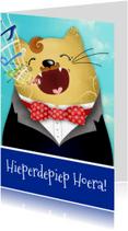 Verjaardagskaarten - Verjaardagskaart kat operazanger