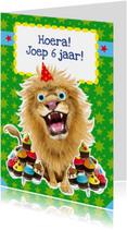 Verjaardagskaarten - Verjaardagskaart leeuw cupcakes