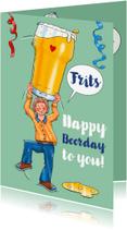 Verjaardagskaarten - Verjaardagskaart man met glas bier - HE
