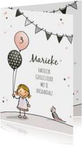 Verjaardagskaarten - Verjaardagskaart meisje ballon a