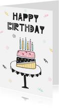 Verjaardagskaarten - Verjaardagskaart meisje trendy taart