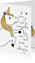 Verjaardagskaarten - Verjaardagskaart meisje 'Unicorn'