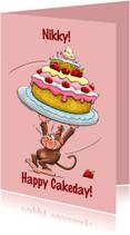 Verjaardagskaarten - Verjaardagskaart met aapje en grote taart - HE