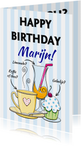 Verjaardagskaarten - Verjaardagskaart met diverse drankjes en binnen bier