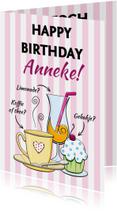 Verjaardagskaarten - Verjaardagskaart met diverse drankjes en binnen wijn