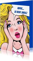 Verjaardagskaarten - Verjaardagskaart met grafisch kopje van vrouw