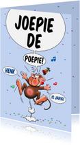 Verjaardagskaarten - Verjaardagskaart met grappig aapje voor de jarige