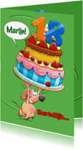 Verjaardagskaarten - Verjaardagskaart met grote taart en muisje - HE
