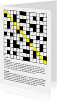 Verjaardagskaarten - Verjaardagskaart met kruiswoordpuzzel felicitatie