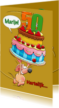 Verjaardagskaarten - Verjaardagskaart met  muisje en grote taart - HE