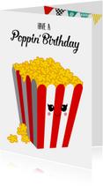 Verjaardagskaarten - Verjaardagskaart met popcorn