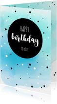 Verjaardagskaarten - Verjaardagskaart met watercolour en stippen