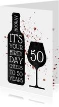Verjaardagskaart met wijn en spetters