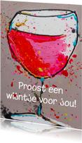 Verjaardagskaarten - Verjaardagskaart met wijntje