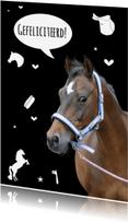 Verjaardagskaarten - Verjaardagskaart Paardje Zwart