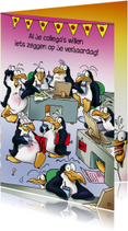 Verjaardagskaarten - Verjaardagskaart pinguin verjaardag op kantoor