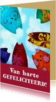 Verjaardagskaarten - Verjaardagskaart rainbow katten