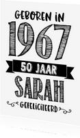 Verjaardagskaarten - Verjaardagskaart Sarah 1967
