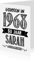 Verjaardagskaarten - Verjaardagskaart Sarah 1968
