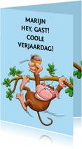Verjaardagskaarten - Verjaardagskaart Slingeraap met cool ijsje